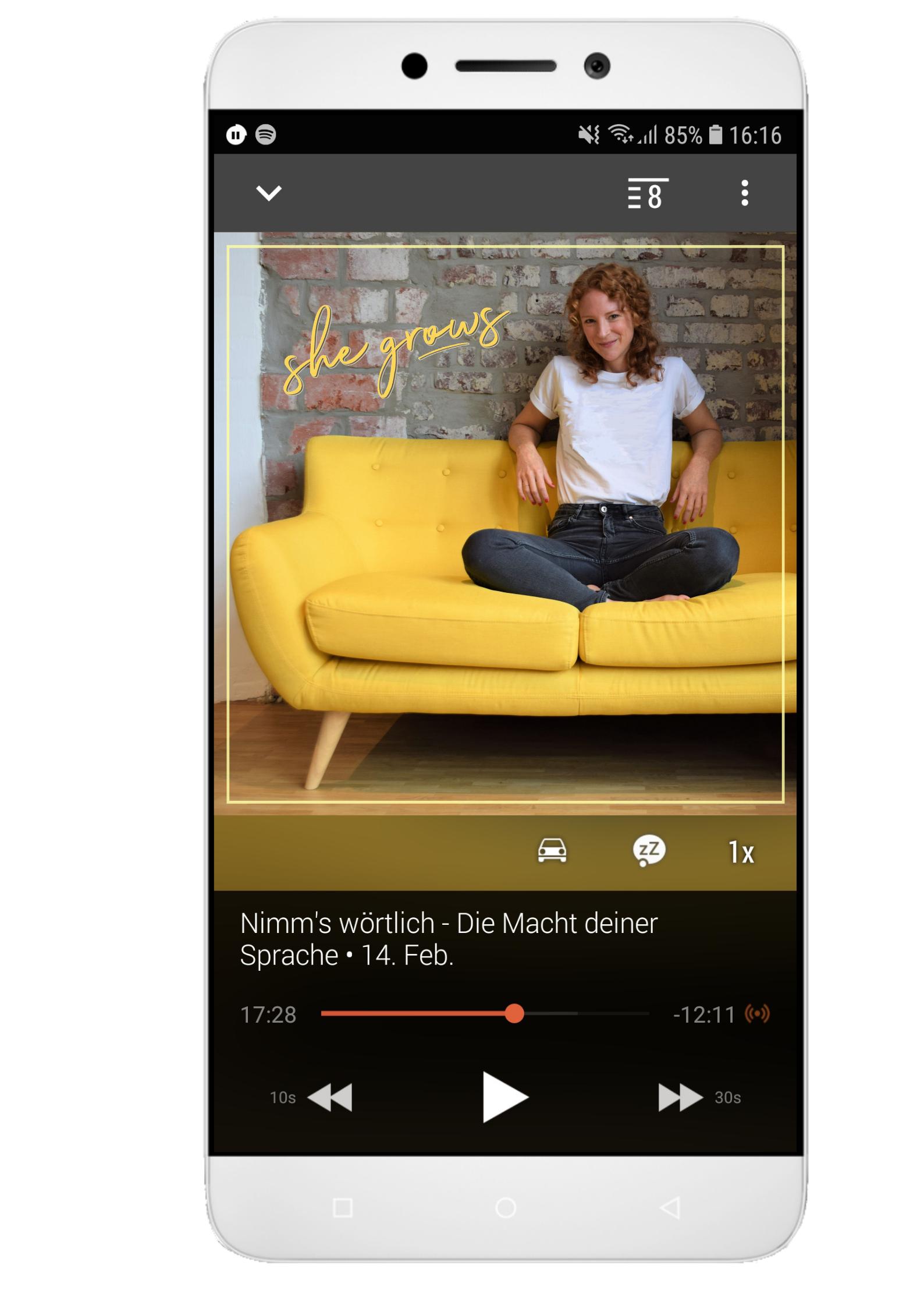 Podcast she grows Darstellung in einer Podcast- App auf einem Smartphone